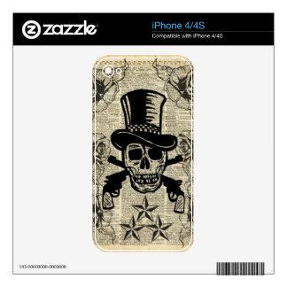 Gunslinger, cráneo feliz, armas, rosas, regalo, iPhone 4S skins