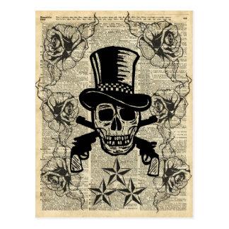Gunslinger, cráneo feliz, armas, rosas, regalo, postales