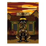 Gunslinger enmascarado en la postal de la cárcel