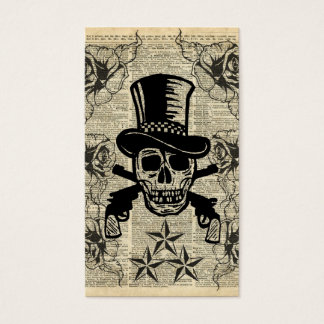 Gunslinger,Happy Skull,Guns,Roses,Gift,Teens,Rock Business Card