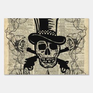 Gunslinger,Happy Skull,Guns,Roses,Gift,Teens,Rock Lawn Sign