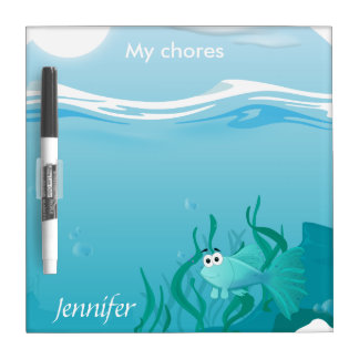 Guppy fish illustration dry erase board