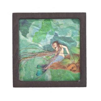 Guppy Mermaid tiny mixed media fantasy art box Premium Jewelry Box