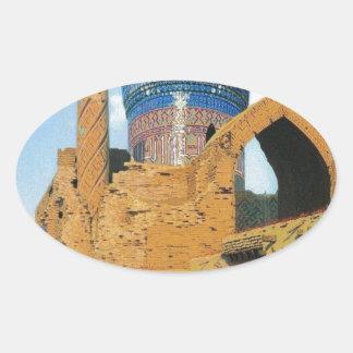 Gur Emir Mausoleum. Samarkand by Vasily Vereshchag Oval Sticker