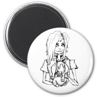GURL AND HER BUN 2 INCH ROUND MAGNET