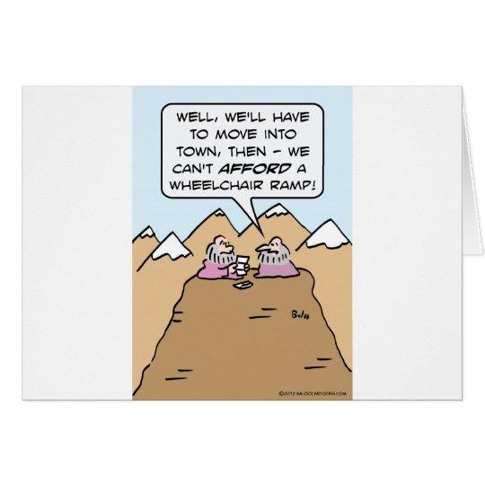 guru can't afford wheelchair ramp for mountain. card