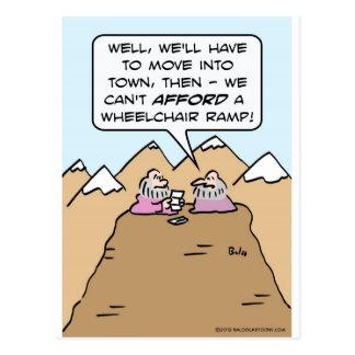 guru can't afford wheelchair ramp for mountain. postcard