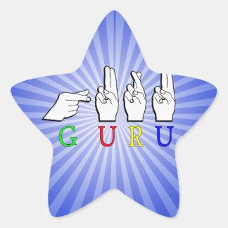 GURU  NAME FINGERSPELLED ASL HAND SIGN STAR STICKER