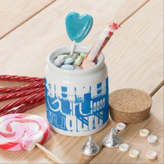 Guru; Royal Blue Stripes Candy Dishes