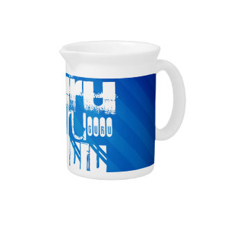 Guru; Royal Blue Stripes Beverage Pitcher