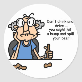 Gus on Drinking and Driving Classic Round Sticker
