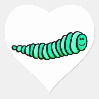 gusano contoneante pegatina en forma de corazón