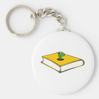 Gusano de libro amarillo llaveros personalizados