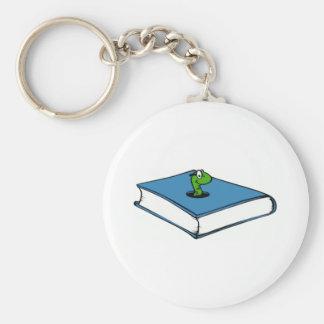 Gusano de libro azul llaveros personalizados