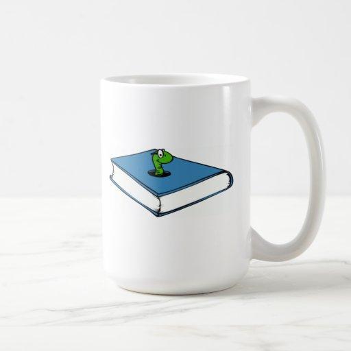 Gusano de libro azul tazas