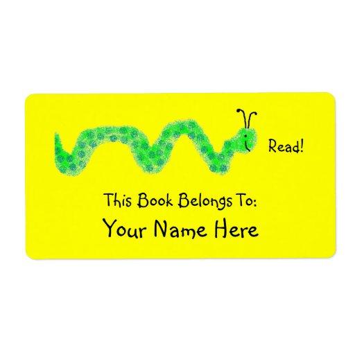 Gusano de libro, Bookplate Etiquetas De Envío