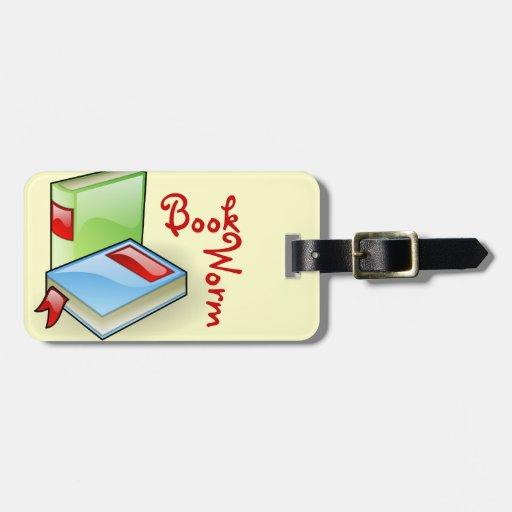 Gusano de libro etiquetas para maletas
