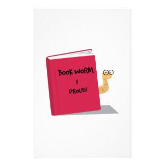 Gusano de libro orgulloso papeleria personalizada