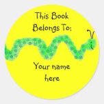 Gusano de libro, placa de libro pegatina redonda