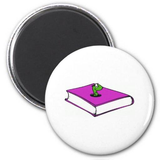 Gusano de libro púrpura imán de frigorifico