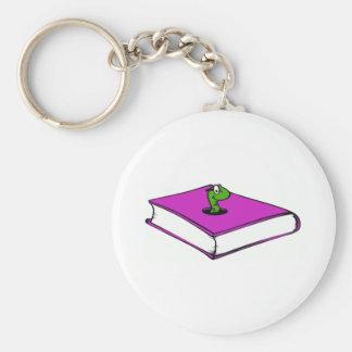 Gusano de libro púrpura llavero personalizado