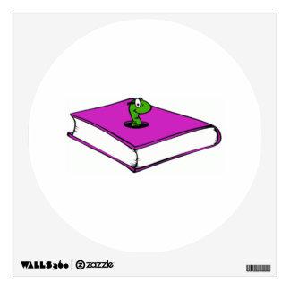 Gusano de libro púrpura vinilo adhesivo