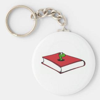 Gusano de libro rojo llaveros personalizados
