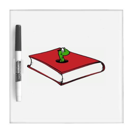 Gusano de libro rojo pizarras blancas de calidad
