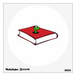 Gusano de libro rojo vinilo adhesivo
