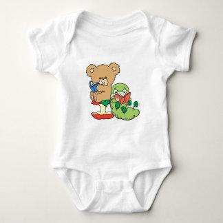 Gusano de libro y oso lindos de la lectura body para bebé
