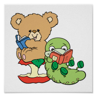 Gusano de libro y oso lindos de la lectura póster