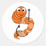 Gusano de pesca etiquetas redondas