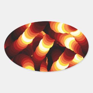 Gusano de resplandor abstracto de la luz de un pegatina ovalada