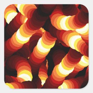Gusano de resplandor abstracto de la luz de un pegatina cuadrada