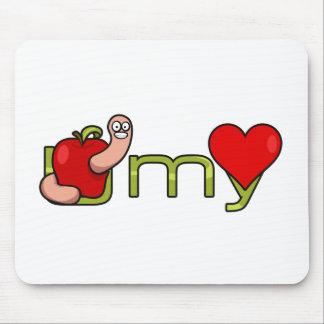 Gusano de U mi corazón Mouse Pad