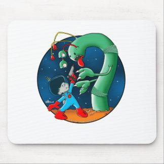 Gusano del astronauta y del dinosaurio alfombrilla de raton