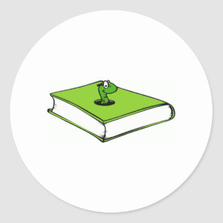 Gusano del Libro verde Pegatina Redonda