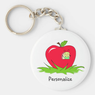 Gusano en Apple rojo con nombre Llavero Redondo Tipo Pin