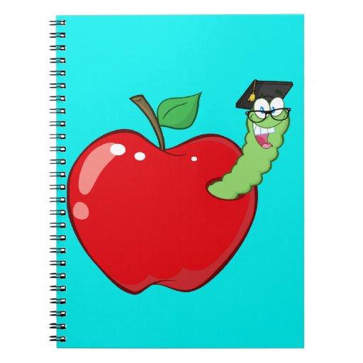 Gusano feliz en Apple rojo Cuadernos