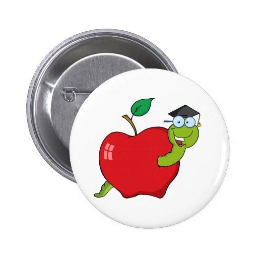 Gusano graduado feliz en Apple Pins