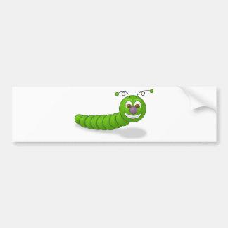 Gusano sonriente verde feliz del dibujo animado pegatina para auto