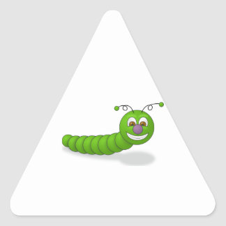 Gusano sonriente verde feliz del dibujo animado pegatina triangular