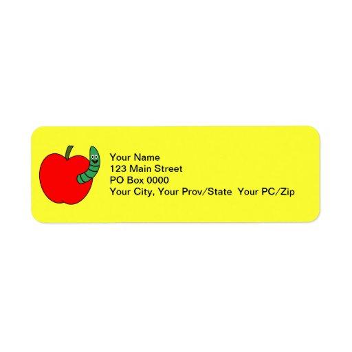 Gusano verde rojo etiqueta de remite
