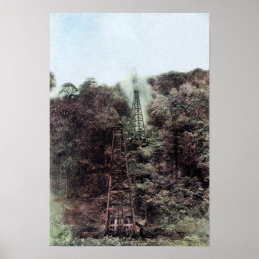 Gusher de la plataforma petrolera de Pennsylvania  Poster