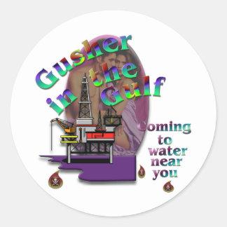 Gusher in the Gulf Round Sticker