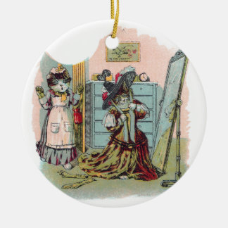 Gussied Up Cat Preens in Mirror Ornament