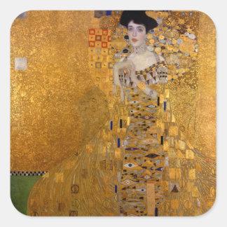 Gustav Klimt,Adele,Art nouveau,deco,gold,paintings Square Sticker