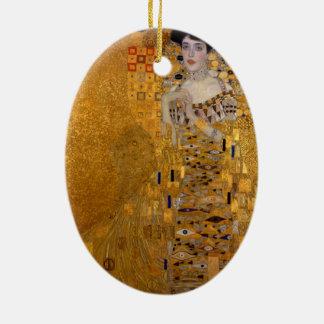 Gustav Klimt - Adele Bloch-Bauer I. Double-Sided Oval Ceramic Christmas Ornament