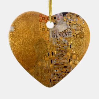 Gustav Klimt - Adele Bloch-Bauer I. Double-Sided Heart Ceramic Christmas Ornament