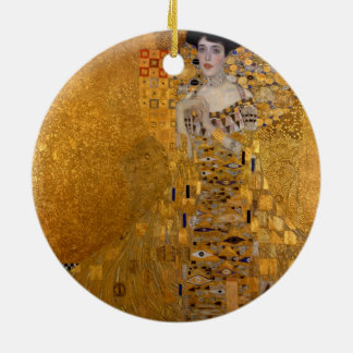 Gustav Klimt - Adele Bloch-Bauer I. Double-Sided Ceramic Round Christmas Ornament